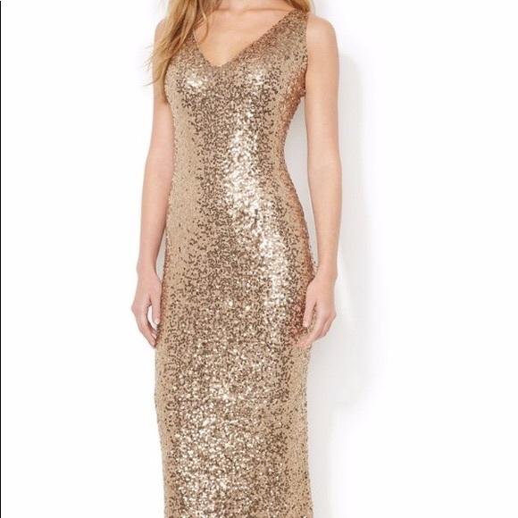 c6d03d65 Lauren Ralph Lauren Dresses | Gold Sequin Floor Length Vneck Gown ...